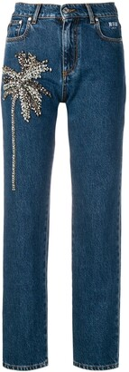 MSGM Palm Tree-Embellished Jeans