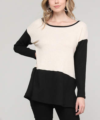 Cool Melon Women's Tee Shirts Oatmeal - Oatmeal & Black Color Block Side-Slit Tunic - Women & Plus