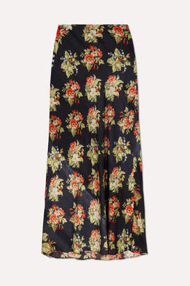 Paco Rabanne Floral-print Satin Maxi Skirt - Black