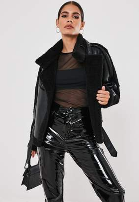 Missguided Premium Black Teddy Borg Belted Aviator Jacket