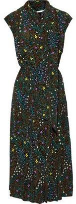 Joseph Ines Tie-neck Floral-print Silk Crepe De Chine Midi Dress
