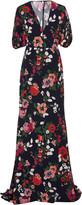 Lela Rose Floral-Print Crepe De Chine Maxi Dress