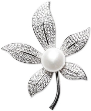 Macy's Cultured Freshwater Pearl (10mm) & Cubic Zirconia Leaf Pin in Sterling Silver