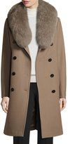 Elie Tahari Long Double-Breasted Pea Coat w/ Fox Fur Collar, Musk