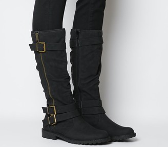 Office Kirsty Flat Buckle Knee Boots Black