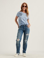 Lucky Brand Stripe Floral Embroidered Tee