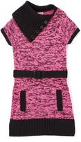 Pink Angel Fuchsia Twist Belted Split-Neck Dress - Infant Toddler & Girls