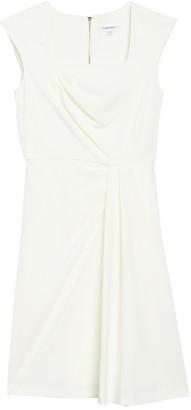 Calvin Klein Ruched Square Neck Sheath Dress
