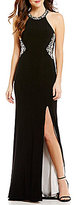 Blondie Nites High Neck Opaque Stone Beaded Illusion-Back Long Dress