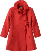 Girls 4-6x Rothschild Midweight Faux-Wool Ruffle-Front Coat