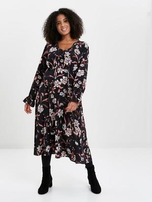 Evans Floral Wrap Dress - Blush