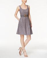 Nine West Belted Burnout Fit & Flare Dress
