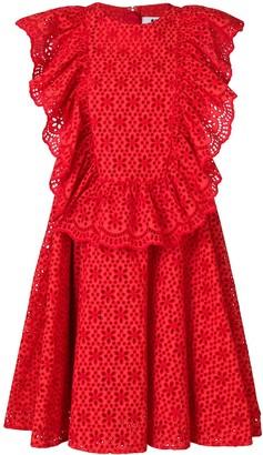 MSGM eyelet ruffled front sleeveless dress