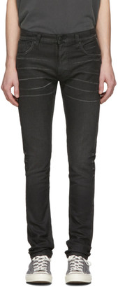 Nudie Jeans Black Denim Thin Finn Coated Jeans