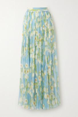 Carolina Herrera Floral-print Plisse-silk Georgette Maxi Skirt - Sky blue