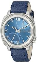 Vince Camuto The Veteran Unisex Quartz Watch with Silver Dial Analogue Display and Black Leather Strap VC/1003SVDS