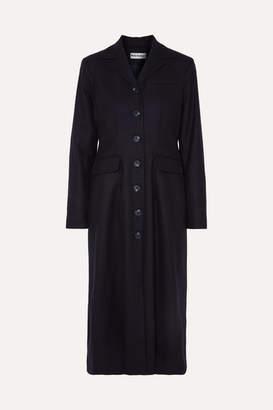 Molly Goddard Karolina Shirred Wool-blend Coat - Navy