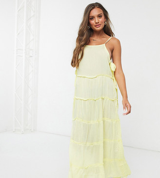 ASOS DESIGN petite tiered side tie maxi beach dress in pastel yellow
