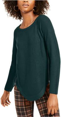INC International Concepts Inc Waffle-Knit Side-Zip Tunic Sweater