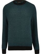 River Island MensTeal textured knitted sweater