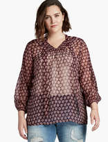 Lucky Brand Floral Tie Front Blouse