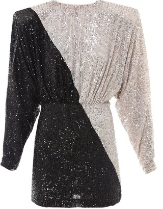 Rotate by Birger Christensen Two-Tone Sequinned Mini Dress