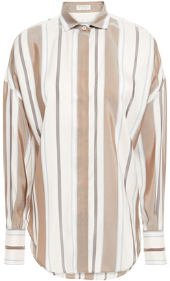 Brunello Cucinelli Bead-embellished Striped Silk Crepe De Chine Shirt
