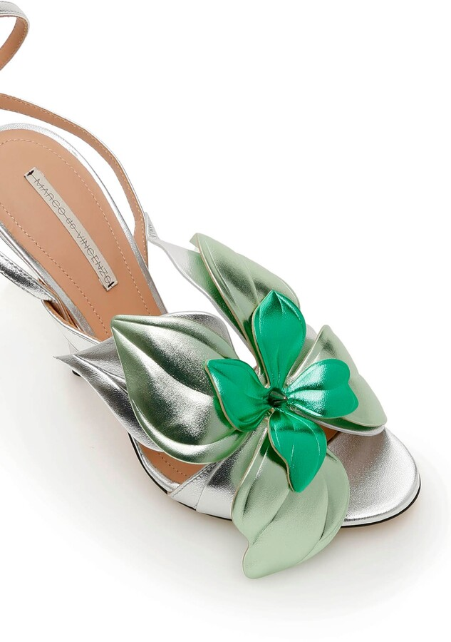 Thumbnail for your product : Marco De Vincenzo LAMINATED LEATHER SANDALS WITH FLOWER 37 Silver,Green Leather