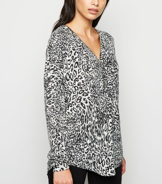 New Look Mela Leopard Zip Front Jumper