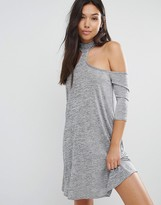 Boohoo Metallic Cold Shoulder Swing Dress