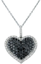 Effy Jewelry 14K White Gold Black & White Diamond Heart Pendant