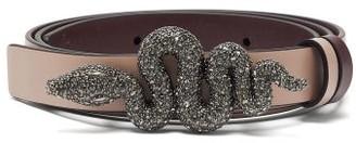 Valentino Reversible Crystal-embellished Snake Leather Belt - Womens - Burgundy
