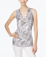 INC International Concepts Embellished Lace-Up Tank Top, Only at Macy's