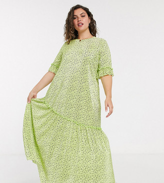 ASOS DESIGN Curve plisse maxi dress with asymmetrica hem in green ditsy floral print