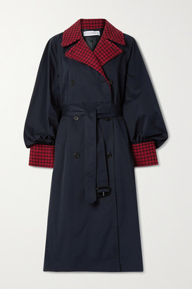 J.W.Anderson Wool Blend-trimmed Cotton-gabardine Trench Coat - Navy