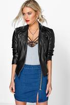 Boohoo Annie Asymmetric Zip Denim Mini Skirt