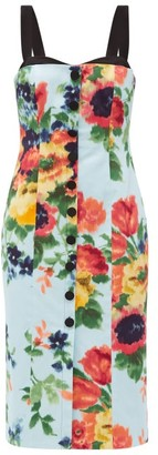 Carolina Herrera Floral-print Cotton-blend Satin Midi Dress - Blue Multi