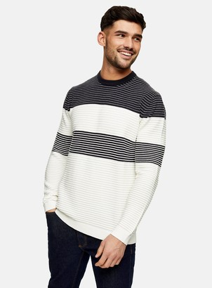 Topman ONLY & SONS Black and White Colour Block Stripe Knitted Sweatshirt