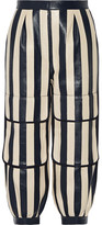Fendi Cropped Striped Leather Tapered Pants - Storm blue