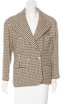 Chanel Double-Breasted Houndstooth Blazer