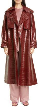 Sies Marjan Eva Alligator Embossed Faux Leather Trench Coat