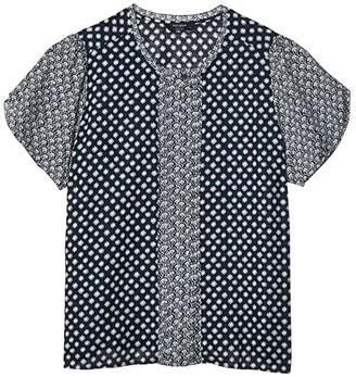 Lucky Brand Tulip Sleeve Crew Neck Pin Tuck Top (Navy Multi) Women's Clothing