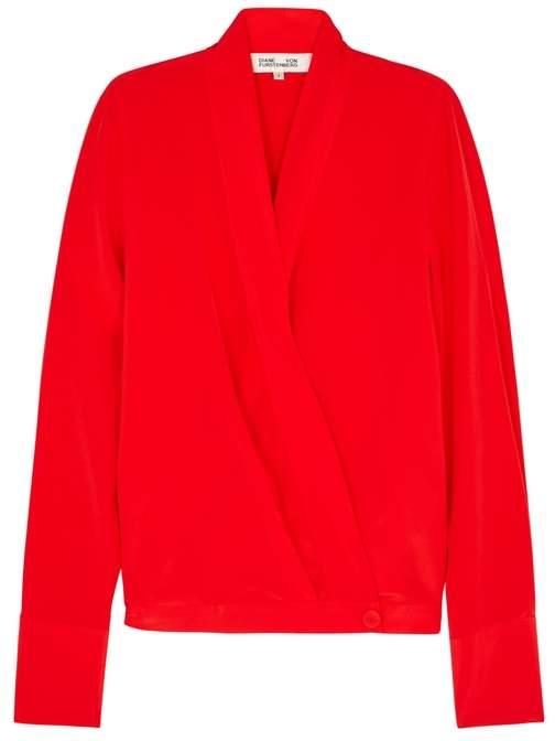 Diane von Furstenberg Red Silk Wrap Top