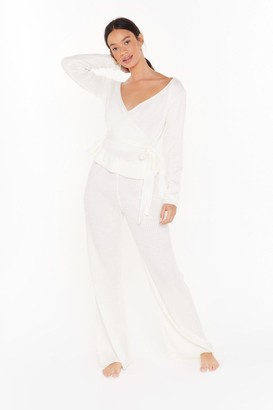 Nasty Gal Womens Knitted wrap tie detail Jumper & wide leg set - white - S