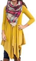 AMZ PLUS Women Irregular Hem Long Sleeve Loose Shirt Dress Top 4XL