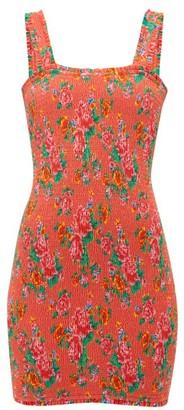 Rhode Resort Jasmine Floral Print Shirred Cotton Mini Dress - Womens - Red Print