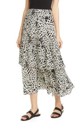 Lafayette 148 New York Zia Tiered Silk Midi Skirt