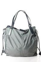 Burberry Gray Black Leather Trim Tote Shoulder Handbag