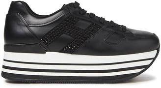 Hogan Crystal-embellished Suede-trimmed Leather Platform Sneakers