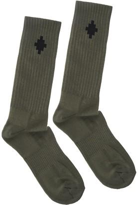 Marcelo Burlon County of Milan Man Olive Green Crossed Socks